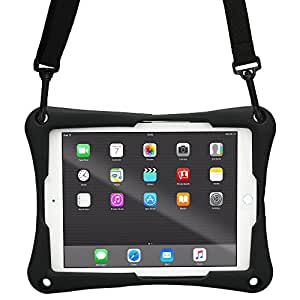 New Apple iPad 9.7 (2017) case, [Cross Compatible Shoulder Strap Rugged Case] COOPER TROOPER 2K Protective Heavy Duty Carry Cover Stand, Drop Shock Proof, Kids Adults (Black)