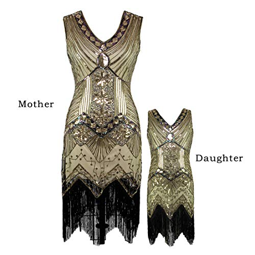 AMJM Parent-Child's 1920s Gastby Sequin Art Nouveau Embellished Fringed Flapper Dress (140, Glam Gold) ()