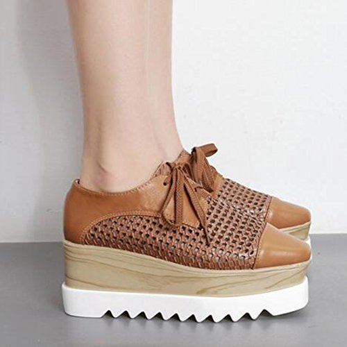 Easemax Platform Cut Out Square Trendy Wedge Mid Womens Brown Lace Toe Heel Up Sneakers rtqU18rxEn