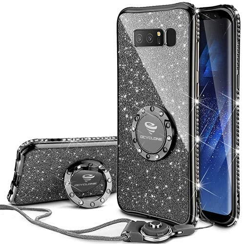 OCYCLONE Galaxy Note 8 Case, Glitter Luxury Cute Phone Case for Women Girls with Kickstand, Bling Diamond Rhinestone Bumper with Ring Stand Compatible