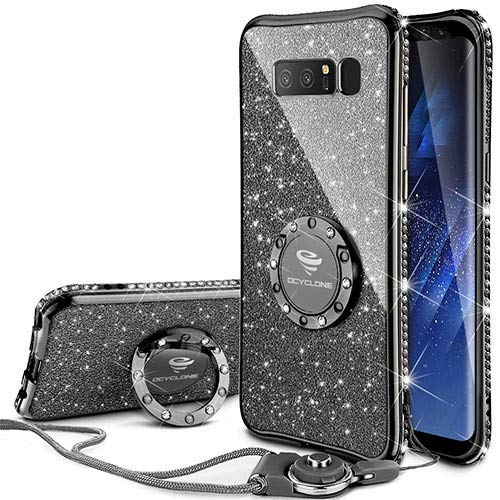 Galaxy Note 8 Case, Glitter Cute Phone Case Girls with Kickstand, Bling Diamond Rhinestone Bumper Ring Stand Sparkly Luxury Thin Soft Protective Samsung Galaxy Note 8 Case for Girl Women - Mauve Black