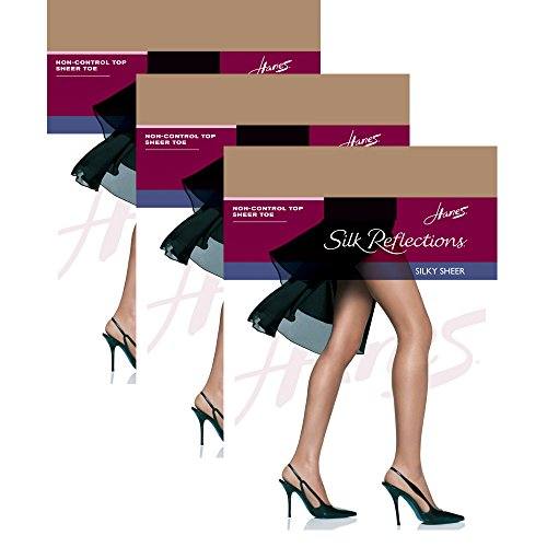 - Hanes Women`s Set of 3 Silk Reflections Non-Control Top Sheer Toe Pantyhose EF, Barely There
