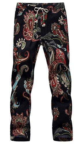 QZH.DUAO Men's Pants, Hawaiian Paisley Floral Print Pull-On Drawstring Pants for Men, 6# Color, Tag Size 3XL = US L/36 (Print Pant Paisley)