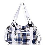 Angel Barcelo Roomy Fashion Hobo Womens Handbags Ladies Purse Satchel Shoulder Bags Tote Washed Leather Bag Blue