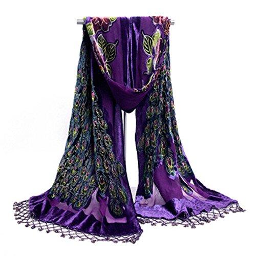 Velvet Beaded Scarf (S Cloth Stunning Beaded Silk Velvet Peacock Scarf Shawl)