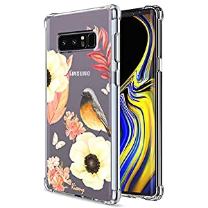 Galaxy S8 Case, KIOMY Crystal Clear Case with Design Flowers and Bird Pattern Print Bumper Protective Shock Absorption…