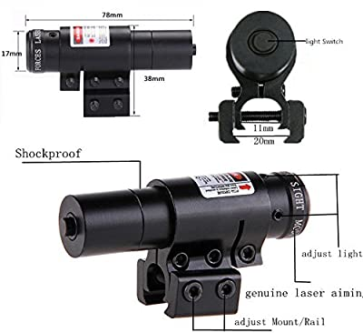 Higoo Red Laser Dot Sight, Military Picatinny Rail Tactical Hungting Red Laser Scope, Red Laser Pointer Presenter Pen Aiming Sight