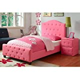 Upholstered Tufted Twin Bed Princess Kids Pink