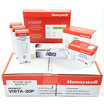 Image of Honeywell Vista 20P Wireless Self Monitoring Kit with a 6160RF Keypad, One 5800PIR-Res Motion Sensor, One EVL-4CG EnvisaLink, Three 5816WMWH Door/Window Contacts, and a WAVE2 Siren