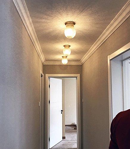 NOXARTE Pineapple Style Ceiling Light Art Design Brass Body Glass Shade Flush Mount Ceiling Lamp Lighting Fixture for Bathroom, Foyer, Hallway by NOXARTE (Image #3)