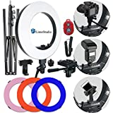 LimoStudio LED Ring Light 18-inch Diameter with Tripod Stand, Angle Adjusting Camera Holding Plate, Cell Phone Holding Clip, Color Filter Fabric Cover, Facial Beauty Photo Shooting, AGG1451V2