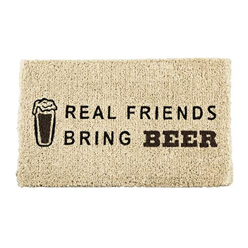 Evergreen Flag Real Friends Bring Beer Natural Coconut Fiber Coir Floor Mat, 30 x 18 inches