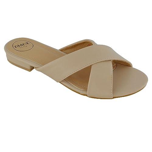ESSEX GLAM Donna Casuale Scivolare Su Argento Metallizzato Slider Scarpa Sandalo EU 38 HXidO