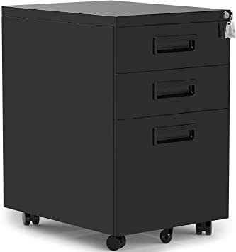 Amazon Com Modernluxe 3 Drawer Mobile File Cabinet With Keys 15 4 X 20 5 X 23 6 Vertical Storage Unit Black With Plastic Handle Office Products