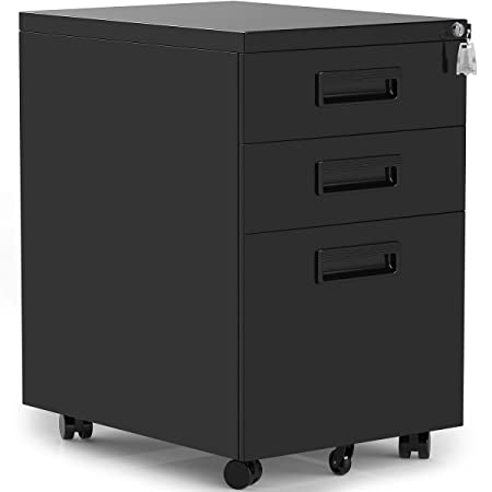 3 Drawers Mobile File Cabinet with Lock, Black Filing Cabinet with Wheels, Fully Assembled