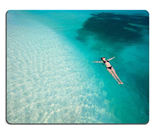 Luxlady Natural Rubber Gaming Mousepads Beautiful woman floating in turquoise tropical water IMAGE ID 27613293