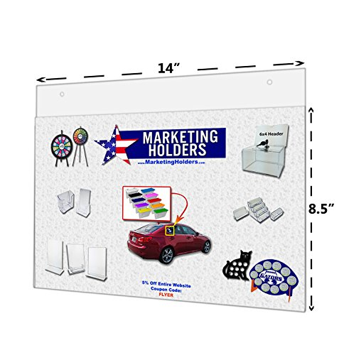 Marketing Holders Lot of 5 - 14'' X 8.5'' Wall Mount Sign Holders with Screw Holes by Marketing Holders