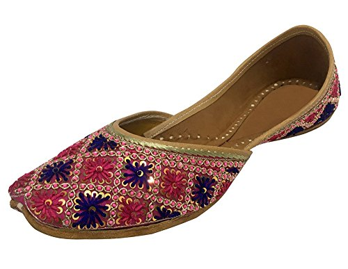 Step N Style Womens Colorful Indian Khussa Flat Pumps Scarpe Phulkari Con Payel