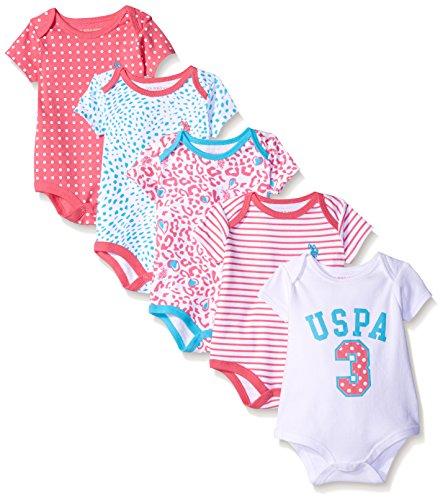 U.S. Polo Assn. Baby Girls' 5 Piece Bodysuit Set