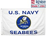 Gettysburg Flag Works 3×5′ Seabees Flag, All-Weather Outdoor Nylon, Made in USA For Sale