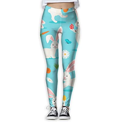 Womens Cute White Rabbit New Fashion GYM Sportswear Slim Casual Tie Waist Yoga Jogger Pants Personalized Casual Pants For Women Home & Outdoor