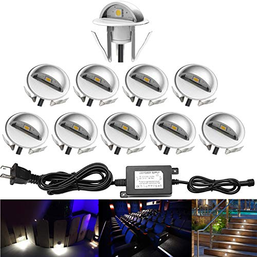 (QACA 10 Pack LED Stair Lights Kit Low Voltage Deck Lights Waterproof IP65 Outdoor 1-2/5