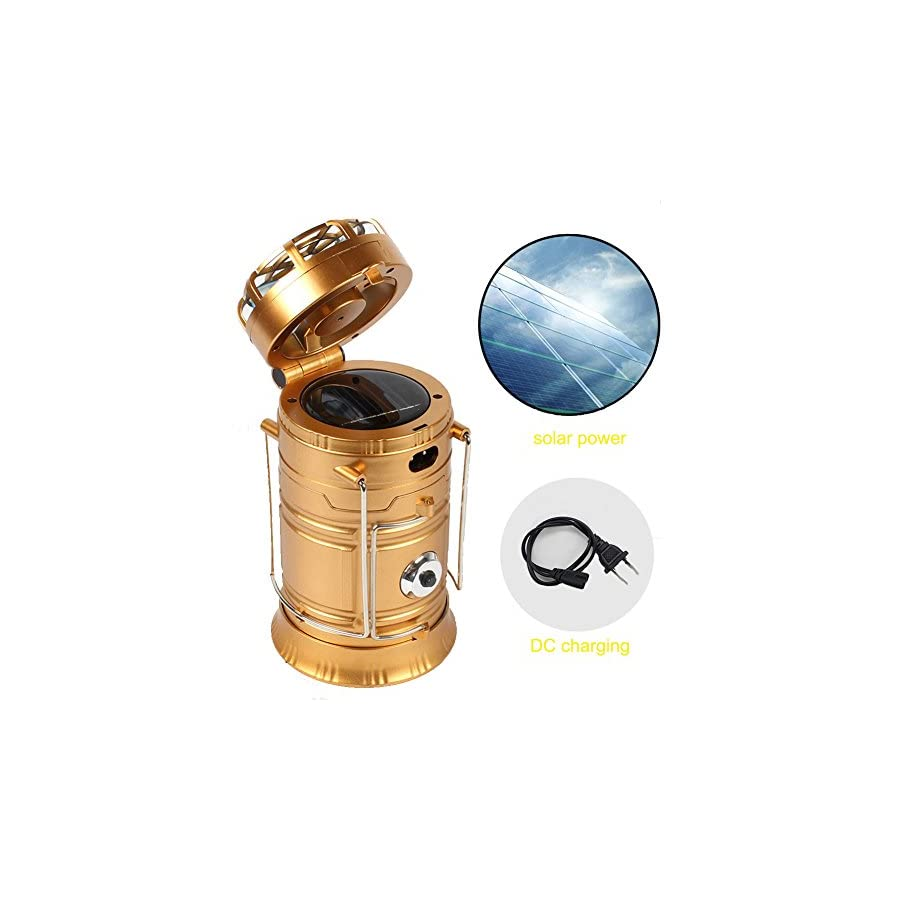 Collapsible Camping Lantern Protable Flashlights Solar Rechargeable with Mini Fan for Outdoor, Emergency, Hurricane, Hiking, Fishing, Tent