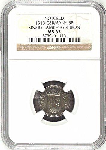 1919 DE 1919 Germany Weimar Notgeld 5 Pfennig Sinzig Rhei 5 Pfennig MS 62 NGC