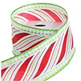 Peppermint Candy Striped Christmas Wired Ribbon, 2.5 Inch Wide X 10 Yards, Red & Green