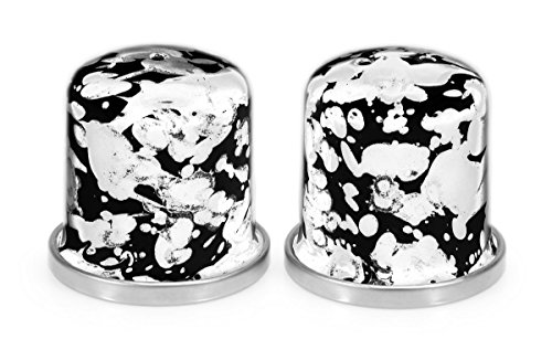 Enamelware, Set of salt & pepper shakers, 1½ inch diameter, 1¾ inch tall, Black Swirl