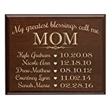 LifeSong Milestones Personalized Gifts for Mom with Family Established Year Wall Plaque with Children's Names and Dates to Remember My Greatest Blessings Call me Mom (12x15, Cherry)