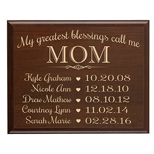LifeSong Milestones Personalized Gifts for Mom with Family Established Year Wall Plaque with Children's Names and Dates to Remember My Greatest Blessings Call me Mom (9x12, ()