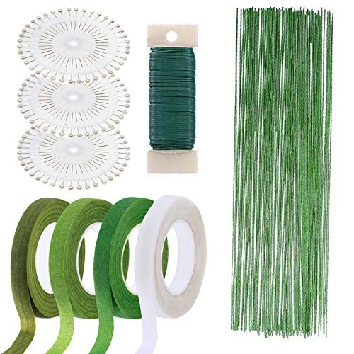 Woohome Floral Arrangement Tool Kit Floral Tape Stem Wrap 1/2 Inch, 26 Gauge Green Floral Stem Wire, 22 Gauge Green Paddle Wire and 100 PCS Ball Head Pins for Wedding Bouquet DIY -