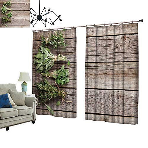PRUNUS Decorative Curtains has Hook Garden Herbs on Wooden Table oreg o Thyme sage Machine Washable for Easy Care,W84.3 xL72