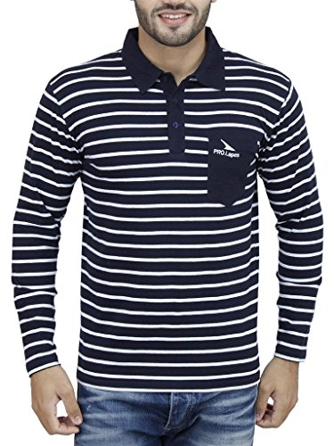 PRO Lapes Men's Striped Full Sleeve Polo - Multi Coloured Striped Polo Shopping Results