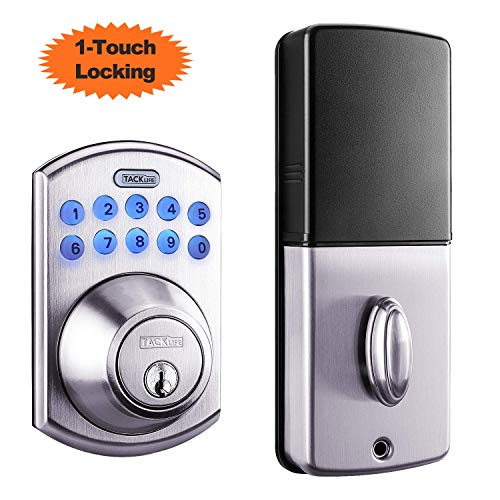 (Tacklife Electronic Deadbolt Door Lock, Keypad Deadbolt Lock with 1-Touch Motorized Locking, Single Cylinder & Back-lit Keypad Lock | Easy to Install for Locker, Office & Home, Satin Nickel-EKPL1A)
