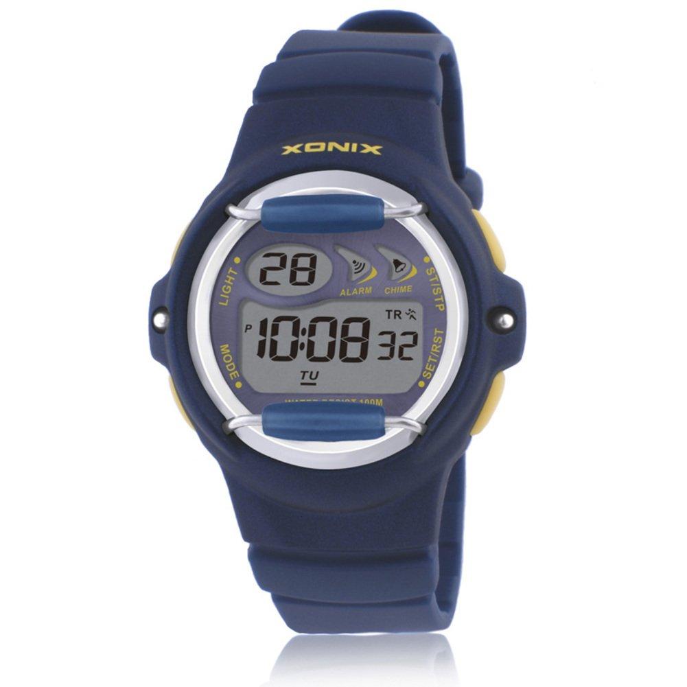 Children's multi-function jelly digital electronic watch, Led 100 m waterproof resin strap calendar alarm stopwatch girls or boys fashion wristwatch-H