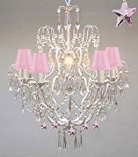 Wrought Iron & Crystal Chandelier Authentic Chandelier Lighting Chandeliers with Pink Stars! Nursery, Kids, Girls Bedrooms, Kitchen, Etc With Pink Shades!