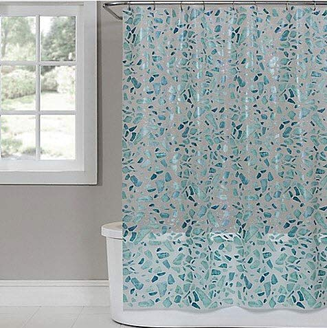 Saturday Knight Sea Glass PEVA Shower Curtain in White (Shower Glass Curtains)