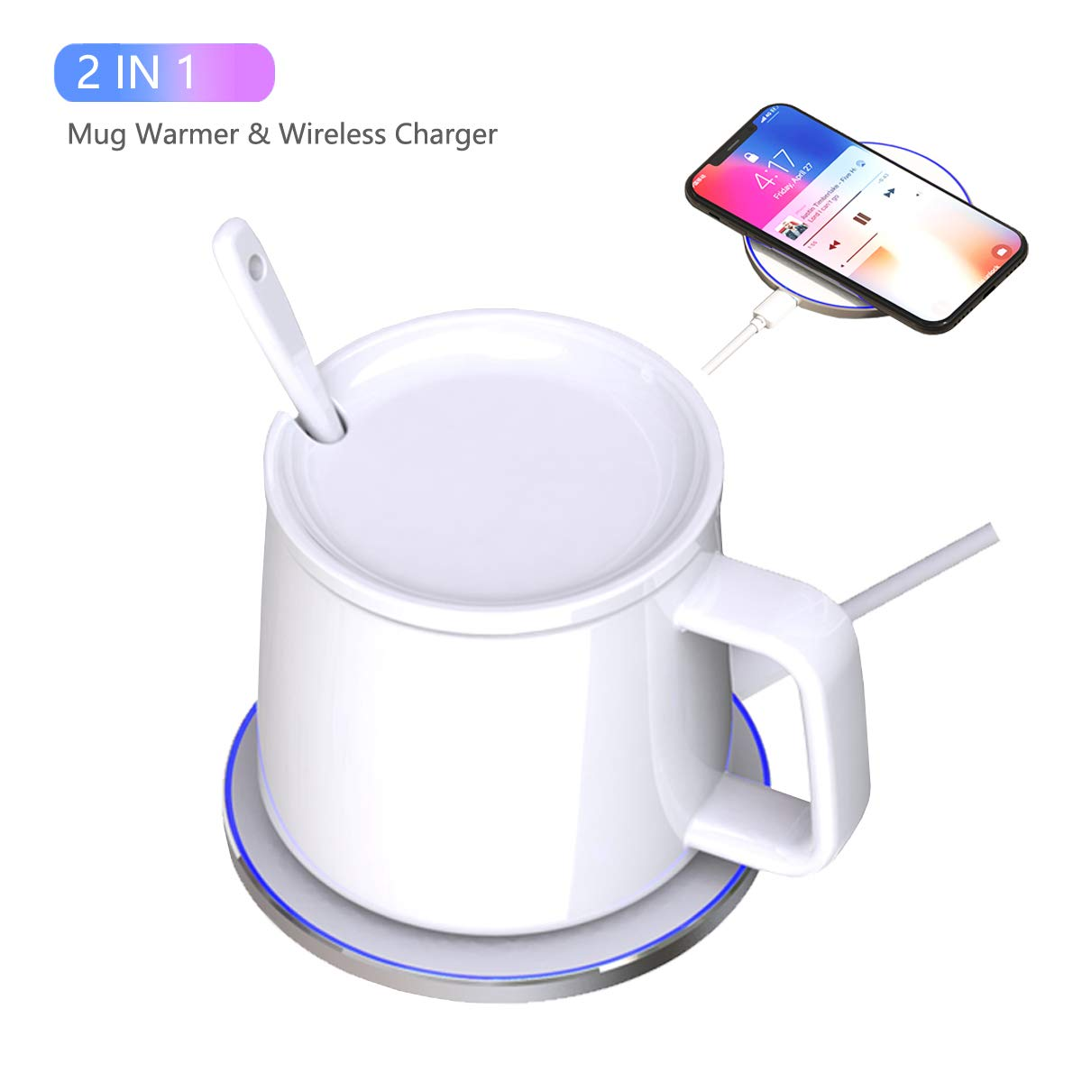 Coffee Mug Warmer, SUDISER 2019 New High-end Bone china Mug Warmer with Wireless Charger, Constant Temperature about 122 F 50 C for Home, Office Use and Platinum Gift