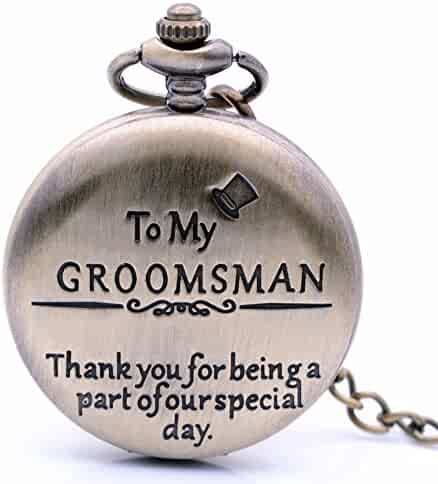 Vintage Bronze to My Groomsman Quartz Pocket Watch for Wedding Gift, Mens Watch Womens Pocket Watch with Chain + Box