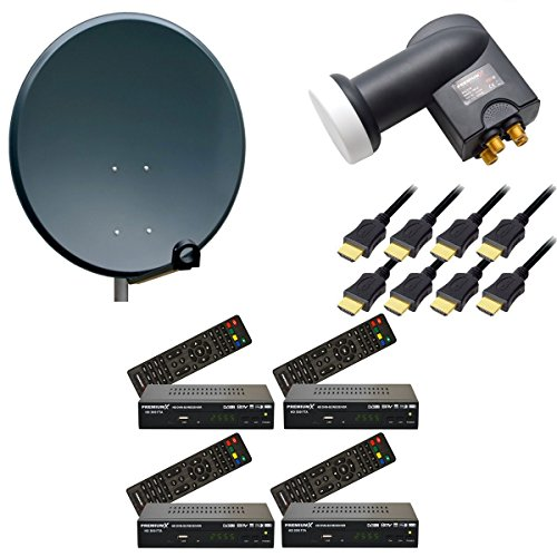 Komplette Digitale Sat Anlage Sat Schüssel 80cm Antenne Spiegel + Quad LNB 0,1dB PremiumX + 4x HDTV Sat Receiver Digital 4 Teilnehmer Anlage
