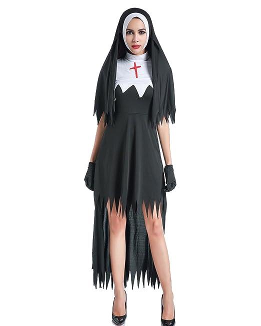 Mujer Disfraz De Monja para Adulto con Cruz Cosplay para Halloween Carnaval   Amazon.es  Ropa y accesorios 369f1272f5e