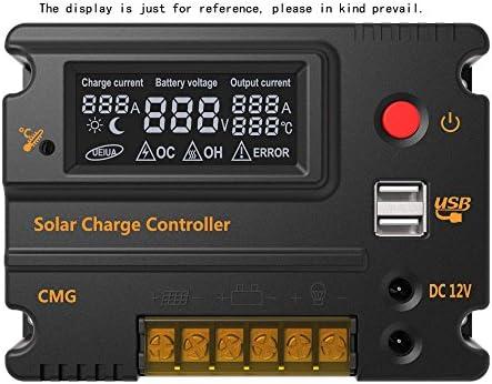 Galapara Solarladeregler Solarregler 12V 20A 24V Solar Panel Regler Batterie Regulator Automatischer Schalter Überlastungsschutz Temperaturkompensation