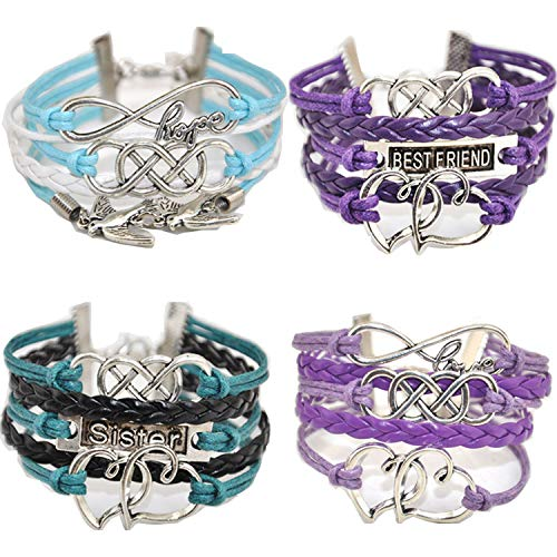 ACUNIONTM Twinkle Handmade Pretty Infinity Heart Birds Best Friend Fashion Charm for Friendship Gift Party Accessory Leather Bracelet (4 Pieces/lot)