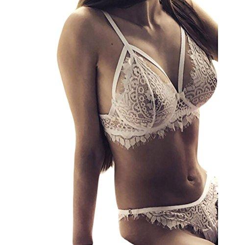 Lace Flowers Lingerie Corset,Woaills Polyester Push Up Top Bra + Briefs Underwear Set (White, XL) (Discount Flower Girl Dresses)