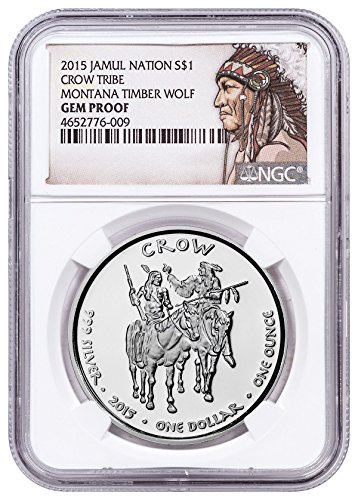 2015 Native American Silver Dollar - Montana Crow - Timber Wolf 1 oz Silver Proof Coin Native American Label $1 Gem Proof - Silver Proof Oz Gem 1