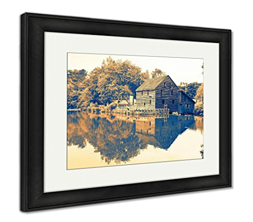 Ashley Framed Prints A Vintage Waterscape View of The Old Yates Millpond in Raleigh North Carolina, Wall Art Home Decoration, Color, 34x40 (Frame Size), Black Frame, AG6510415 -