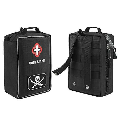 AIRSSON First Aid Kit Molle Medical Emergency Bag for Home School Car Office Sports Camping Hunting Outdoors Survival (Black)