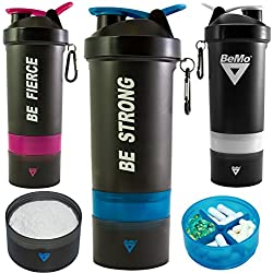 BeMo Motivational Protein Shaker Bottle, Large 28-Ounce Shaker Cup with Protein Powder Storage Compartments, 100% Leak Proof, Motivational Logos, BPA Free (Blue, BE FIERCE)